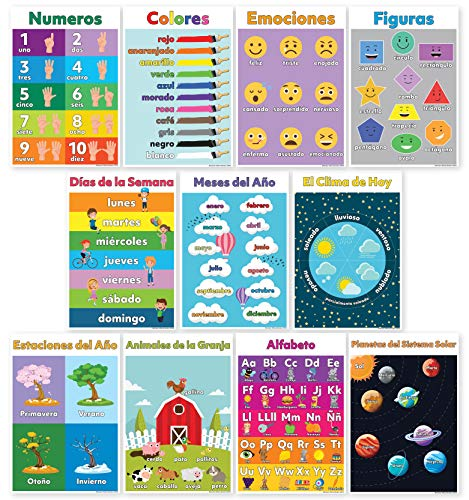 11 Spanish Classroom Decorations - Spanish Posters for Classrooms Include ABC/Alphabet Poster (Alfabeto/Abecedario), Solar System, Shapes Colors Letters & Numbers (Non Laminated)13X18 -