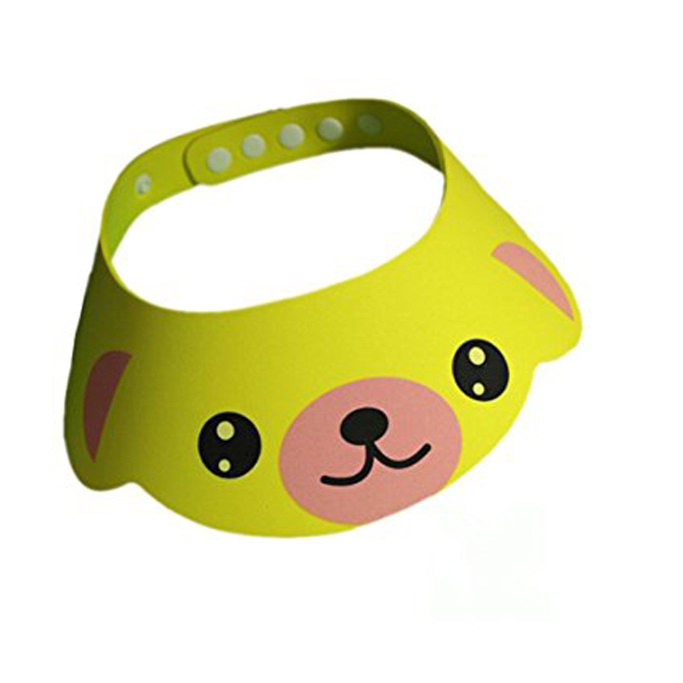 YUNQI Baby Kids Bath Shampoo Protect Hat Cartoon Children Adjustable Soft Bathing Shower Cap Sunshade Shield Visor Yellow (Yellow)