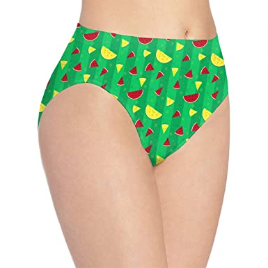 18587f52b2bf HappyTra Women's Hipster Panties Watermelon Print Green Polyester Soft  Bikini Brief Underwear at Amazon Women's Clothing store: