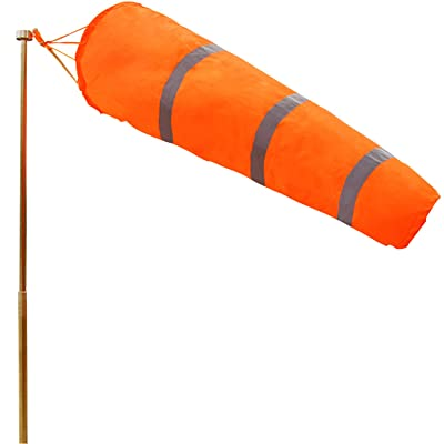 Anley 30 Inch Windsock - Rip-Stop Polyester Wind Direction Measurement Sock Bag with Reflective Belt - for Outdoors Airport Farm & Park - Orange 2.5 Feet : Garden & Outdoor