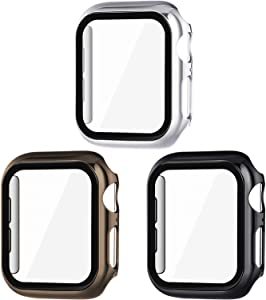 Surace 38mm Case Compatible for Apple Watch Case, Overall Protective Cover Tempered Glass Screen Protector Hard PC Case Compatible with iWatch Series 3/2/1, Black/Silver/Dark Gold