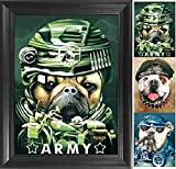 best army bedroom wall Bulldogs 3D Poster Wall Art Decor Framed Print | 14.5x18.5 | Lenticular Posters & Pictures | Memorabilia Gifts for Guys & Girls Bedroom | Army Soldier & Biker Bull Dog Photo | Funny Animal Picture