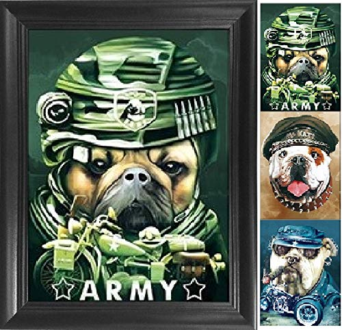 Bulldogs 3D Poster Wall Art Decor Framed Print | 14.5x18.5 | Lenticular Posters & Pictures | Memorabilia Gifts for Guys & Girls Bedroom | Army Soldier & Biker Bull Dog Photo | Funny Animal Picture