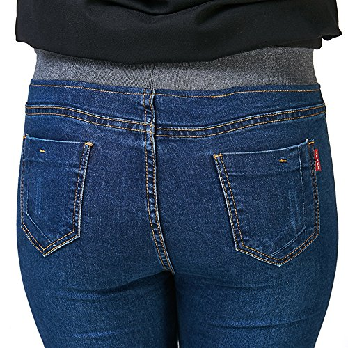 1a7110ae7d375 Just for Plus Women s Dark Blue Denim Jeans Elastic Waist Pencil Pants Plus  Size Skinny Slim