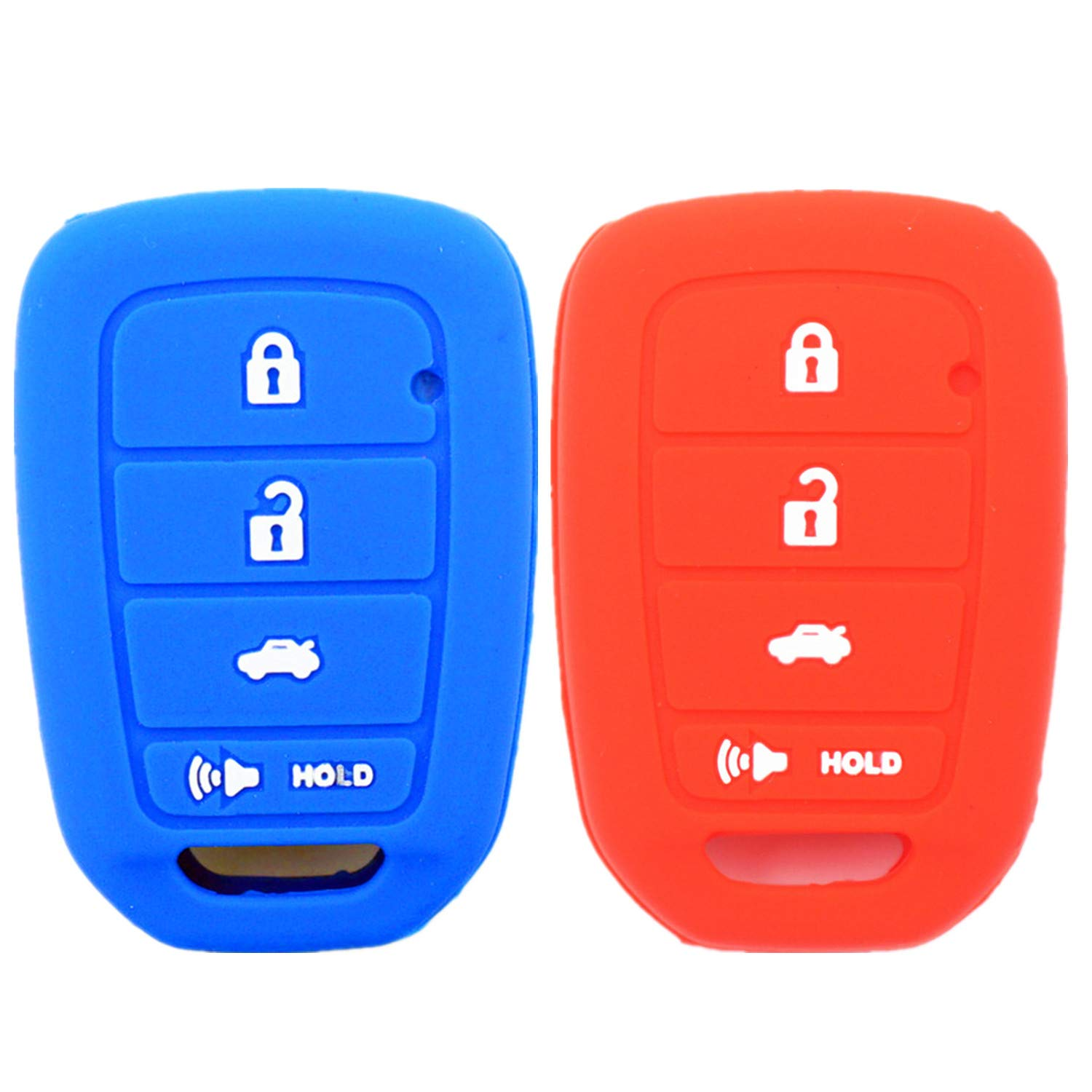 WFMJ 2Pcs Red Blue Silicone for Honda Accord Civic Crosstour CR-V HR-V MLBHLIK6-1TA 4 Buttons Remote Key Cover Chain Case Fob