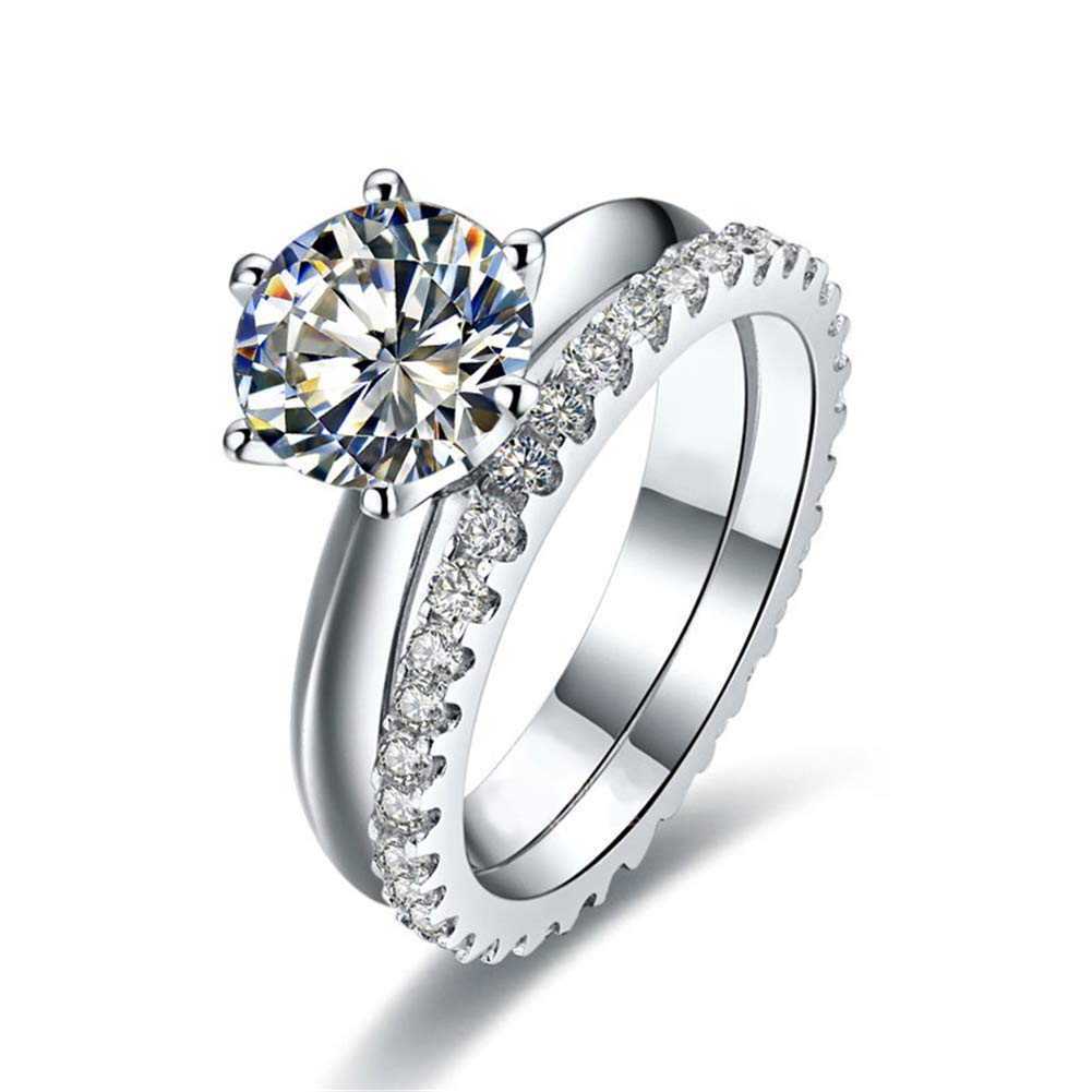 Erllo 2ct Solitaire Engagement Ring Infinity Cubic Zirconia Simulated Diamond Anniversary Promise Eternity Wedding Band Bridal Sets 925 Sterling Silver (7)
