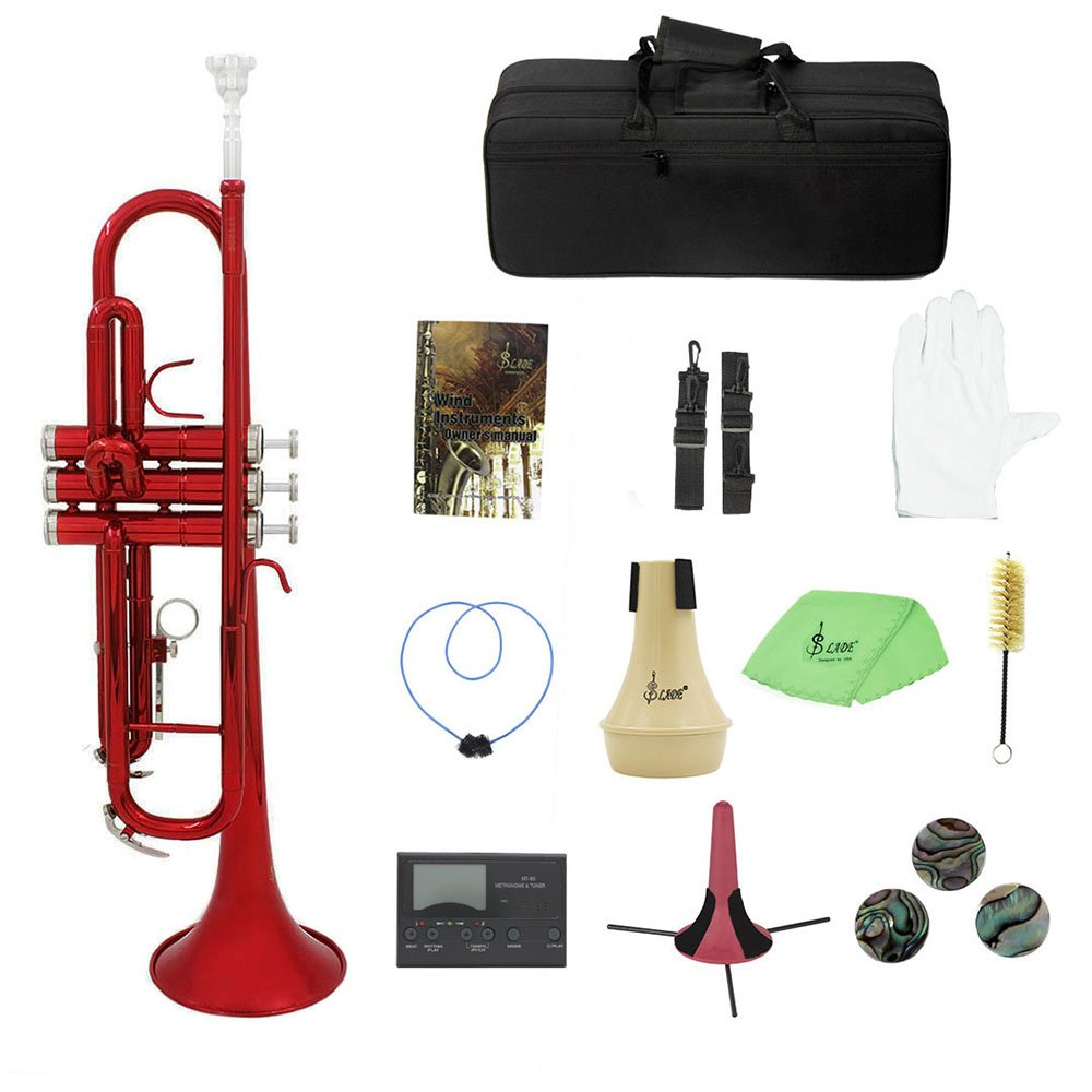 Festnight Brass Trumpet Bb B Flat with Mouthpiece Carry Bag Tuner Mute Trumpet Stand Gloves Cleaning Tools Wind Instrument by Festnight