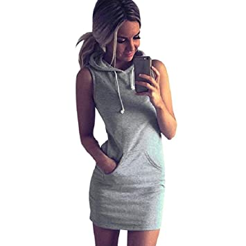 Capuche Décontractée Toamen Sans Manches Mode À ÉtémGris Femmes Robe 2EIWHY9eD