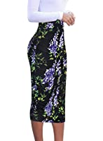 VfEmage Womens Elegant Ruched Frill Ruffle High Waist Pencil Mid-calf Skirt