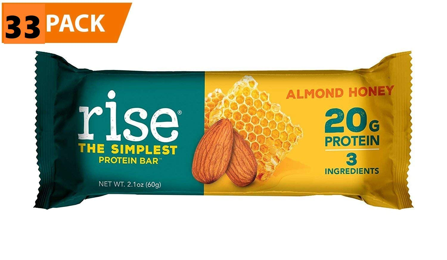 Rise Bar Non-GMO, Gluten Free, Soy Free, Real Whole Food, Whey Protein Bar (20g), No Added Sugar, Almond Honey High Protein Bar with Fiber, Potassium, Natural Vitamins &... (Almond Honey (33 Pack))