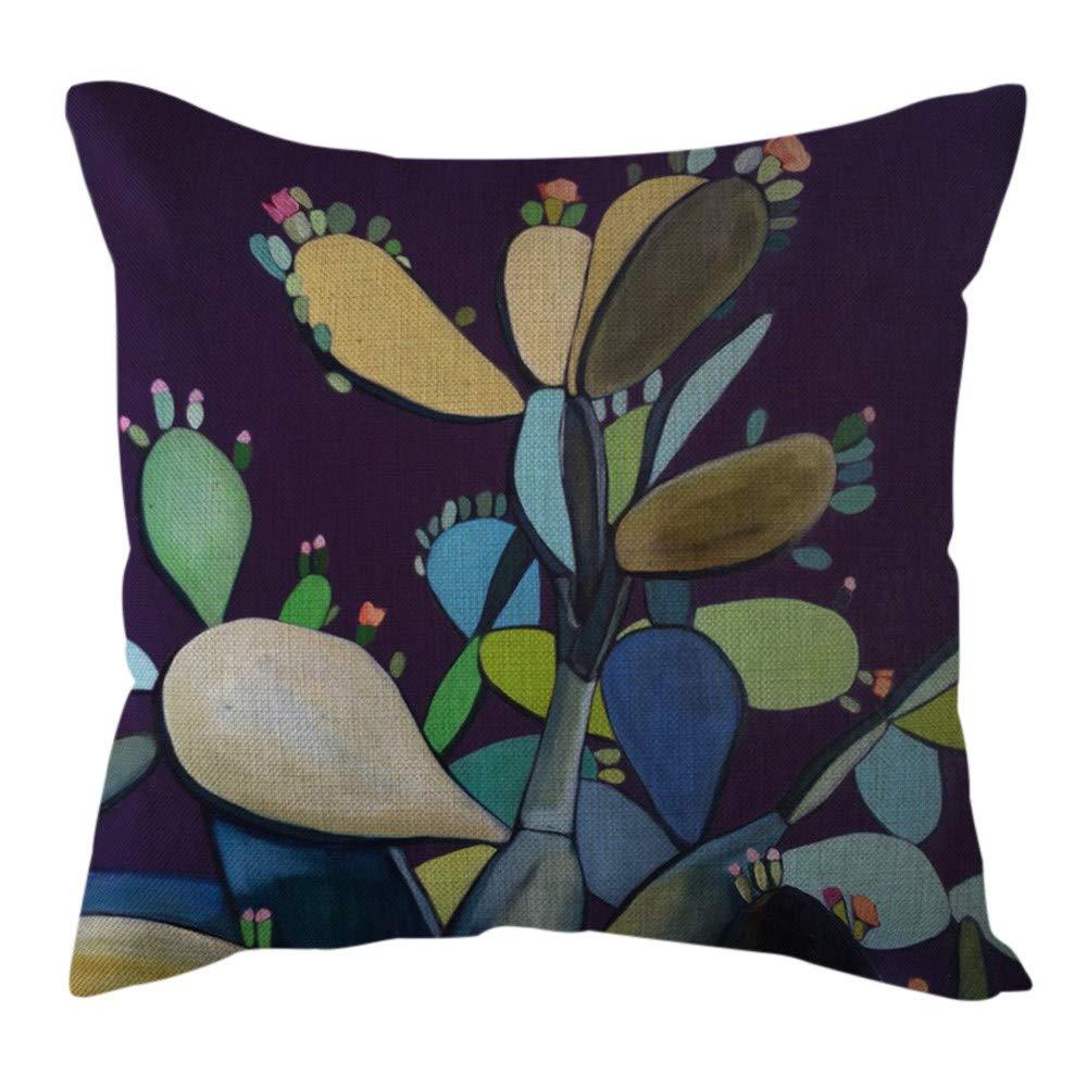 Pgojuni Cotton Linen Butterfly Home Decorative Throw Pillow Case Waist Cushion Throw Pillow Case Sofa/Couch 1pc 45X45 cm (H)