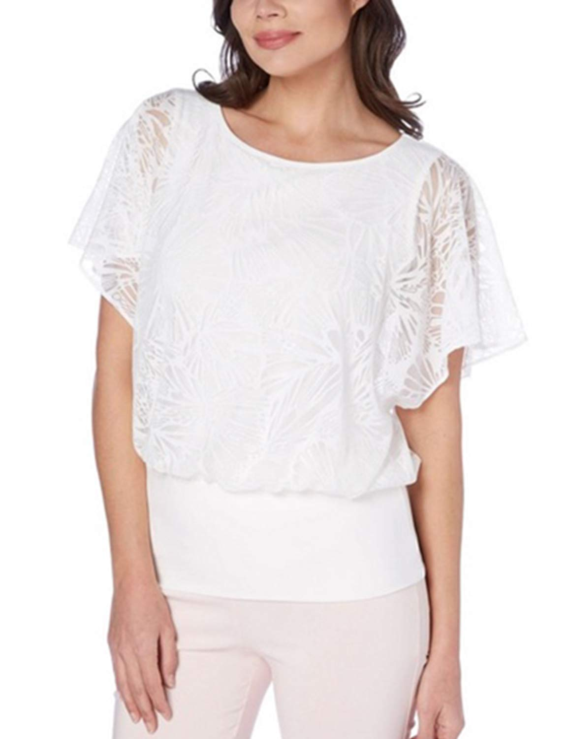 Blooming Jelly Women's Lace Short Bowing Sleeve Button Top Blouse Shirt White
