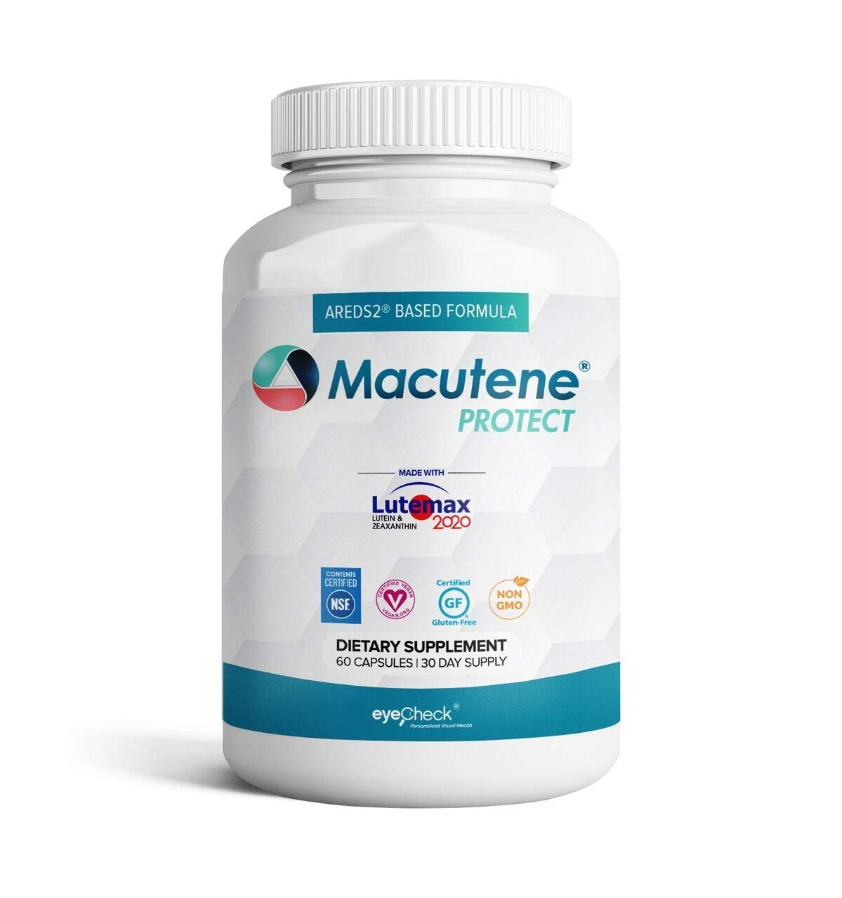 Natural Eye Health Vitamins with Bilberry Zeaxanthin Lutein - Macular Support Supplement, Formula Based On AREDS2® Clinical Trials Plus Carotenoids Quercetin EGCG - Macutene® Protect (60 Capsules) by Eyecheck