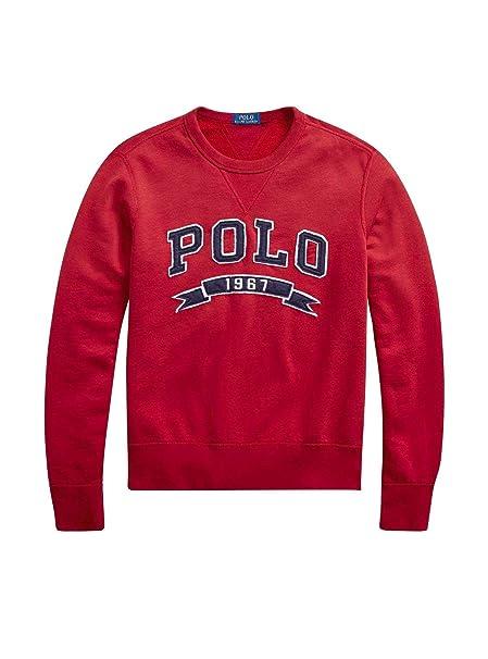 Polo Ralph Lauren Sudadera Vintage Fleece-LSL-knt Rojo: Amazon.es ...
