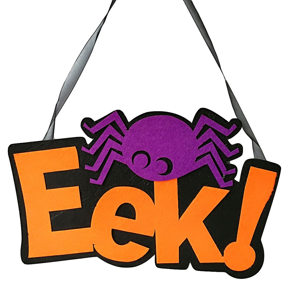 Slendima Funny Eek & Spider Non-Woven Fabric Wall Door Window Halloween Party Festival Hanging Decoration - 9.96'' x 6.18'' x 0.28'' EEK