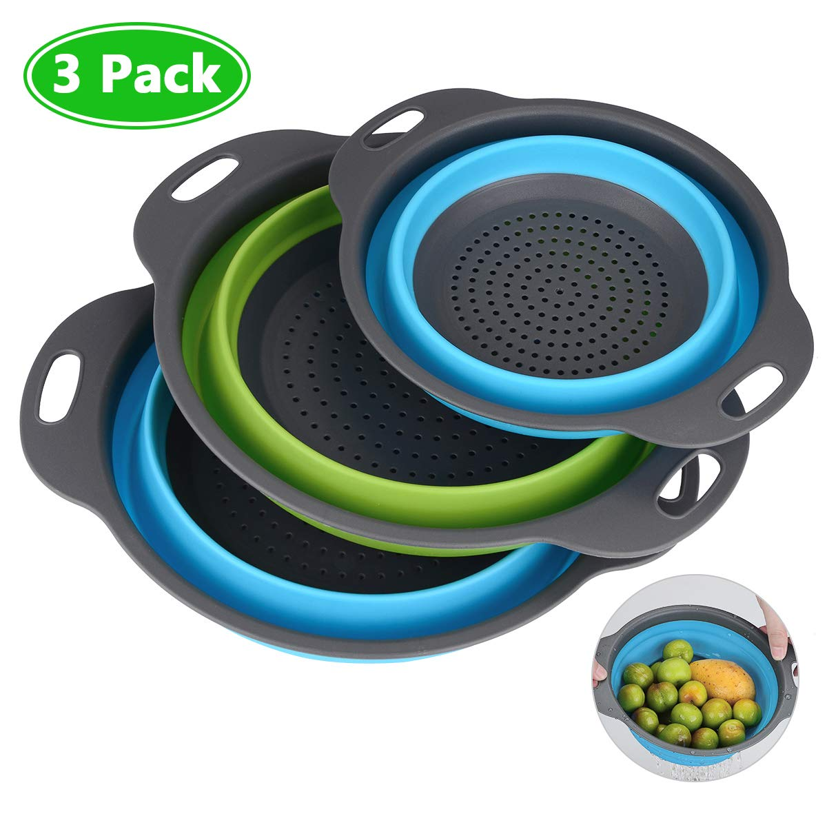 Collapsible Colander, Set of 3 Silicone Kitchen Food Strainers Folding Water Filter Basket 2 Pcs 4 Quart and 1 Pc 2 Quart Collapsible Strainer Set for Draining Pasta, Vegetable and Fruit (Blue, Green)