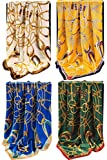 Grace Scarves 100% Silk Scarf With Hand Rolled Edges, Large, Set of 4, Equestrian Yoke