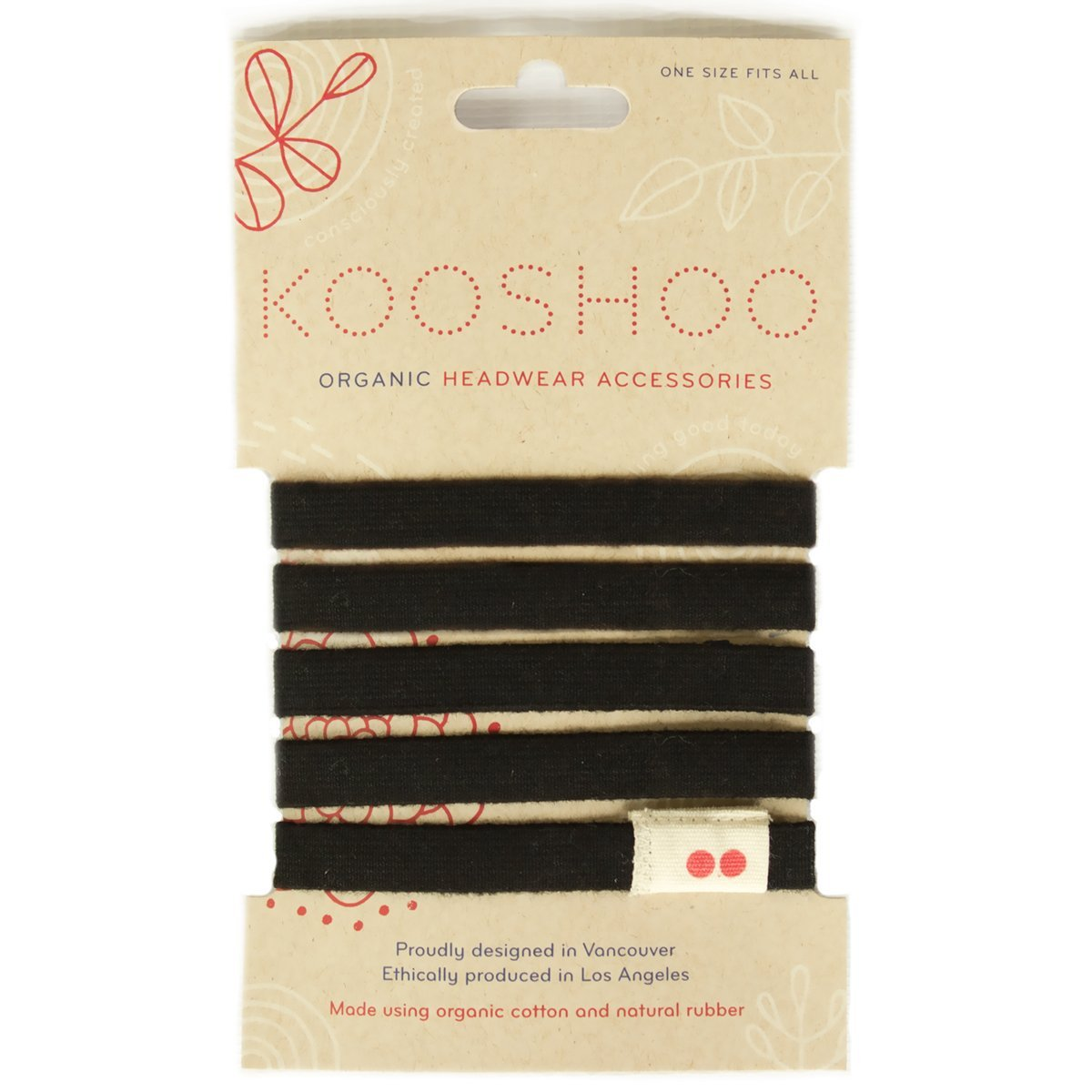 Kooshoo LILA Black Organic Hairties. Top Rated, Ouchless Hair Ties for Women and Men. Long Lasting, Made in USA Organic Cotton Ponytail Holders.