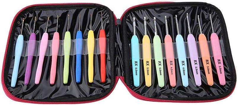 8stk Mehrfarbig Griff Aluminum Häkelnadel Stricknadeln Kit 2.5-6mm Neu