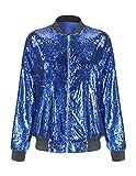 HaoDuoYi Womens Casual Lightweight Sequin Zipper Bomber Jacket (Large, Blue)