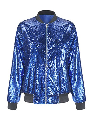 - ASMAX HaoDuoYi Womens Sparkle Mermaid Sequin Long Sleeve Zipper Front Bomber Jacket (Small, Blue)
