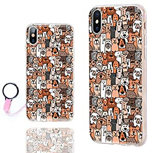 iPhone X Case Cute,iPhone 10 Case Cool,ChiChiC [Cute Series] Ultra Thin Slim Flexible Soft TPU Rubber Clear Case Cover with design for Apple iPhone X,cute doodle brown dogs and cats smile pet