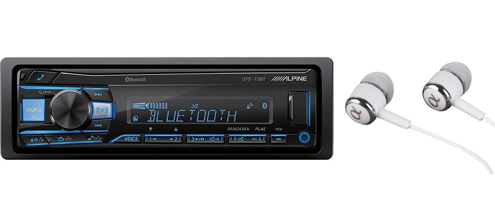 Alpine UTE-73BT In-Dash Single Din MP3 Am/FM Receiver Dual USB, Front Auxiliary, Iphone Pandora Internet Radio, Variable Color Illumination, Digital Media Receiver/Free Alphasonik Earbuds by Alpine