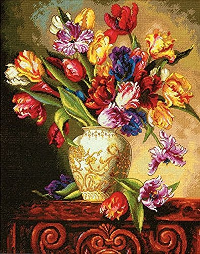 Dimensions Gold Collection Counted Cross Stitch Kit, Parrot Tulips, 14 Count Black Aida, 12'' x 15''