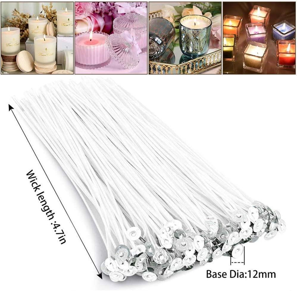 2PCS 3-Hole Candle Wicks Holder,2PCS Candle Box,1PC Spoon DIY Candle Making Kit Candles Craft Tools Included 1PCS Candle Make Pouring Pot,50PCS Candle Wicks,60pcs Double-Sided Dots Wick Stickers