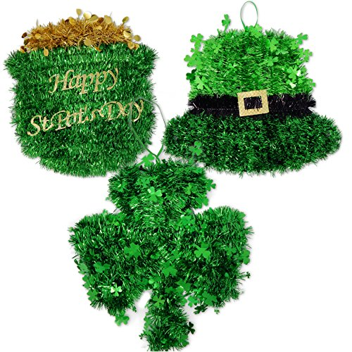 Gift Boutique Tinsel Shamrock Pot of Gold and Leprechaun Hat Wall Decoration, Set of (Leprechaun In The Hood Costume)