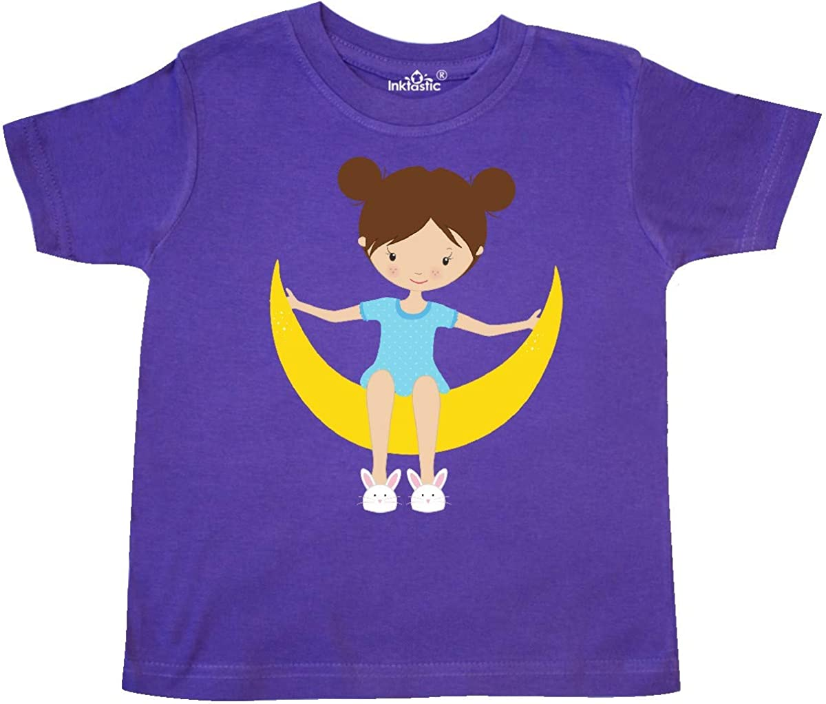 Girl Sitting on The Moon Toddler T-Shirt inktastic Girl in Pajamas