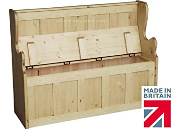 Elegant Solid Pine Storage Bench, 4ft Wide Handcrafted U0026 Waxed Monks Bench, Settle,  Pew
