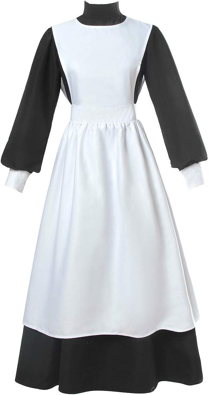 NSPSTT Viktorianisches Dienstmädchen Kostüm für Damen ...