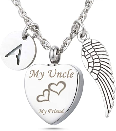 SILVER NECKLACE Uncle Love Heart Gem Angel Wing Pendant