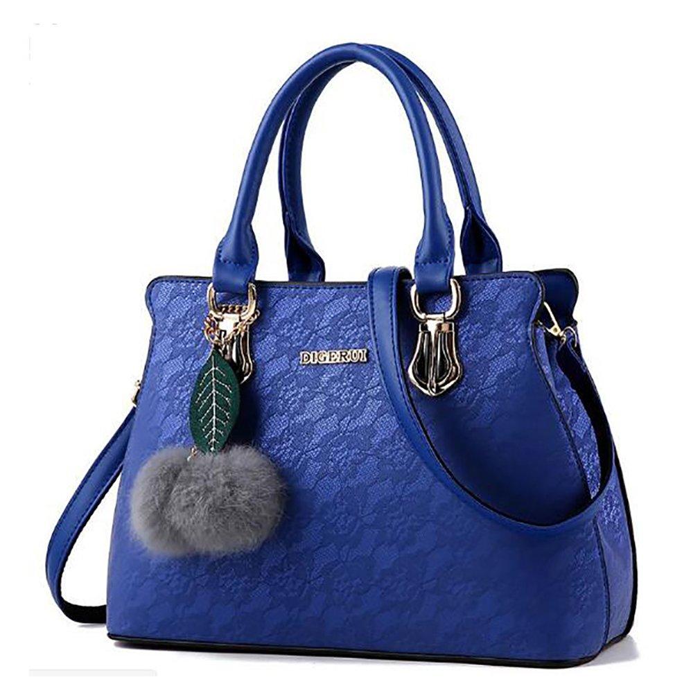 bluee Tote Bag for Women,Vintage Lace Pendant Hairball Shoulder Bag Top Handle Handbag