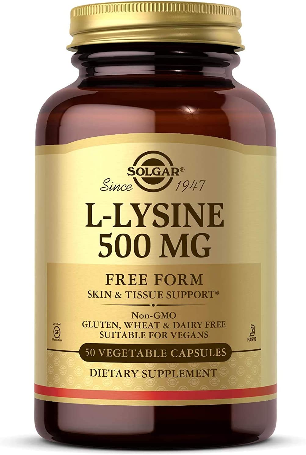 Solgar L-Lysine Vegetable Capsules, 500 mg, 250 Count – Supports Healthy Skin and Lips: Health & Personal Care