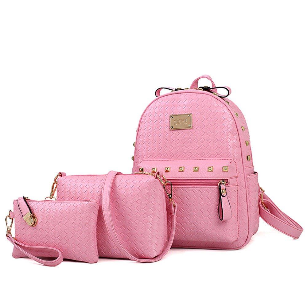 SJMMBB Fashion Double Shoulder Bag Rivet Three Piece Package,Pink,31X26X11Cm