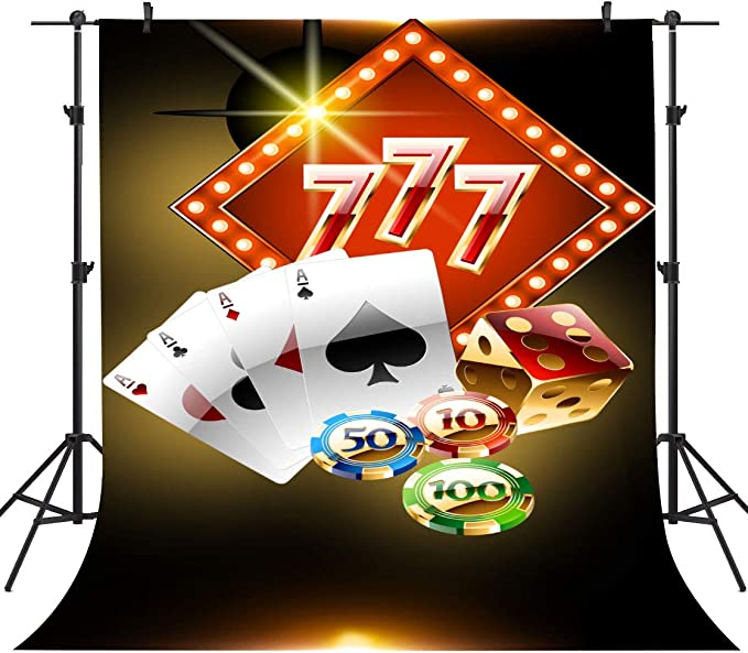 10x8ft Las Vegas Casino Background for Photography Card 777 Dice Chip Backdrop Photo Props LYFU643