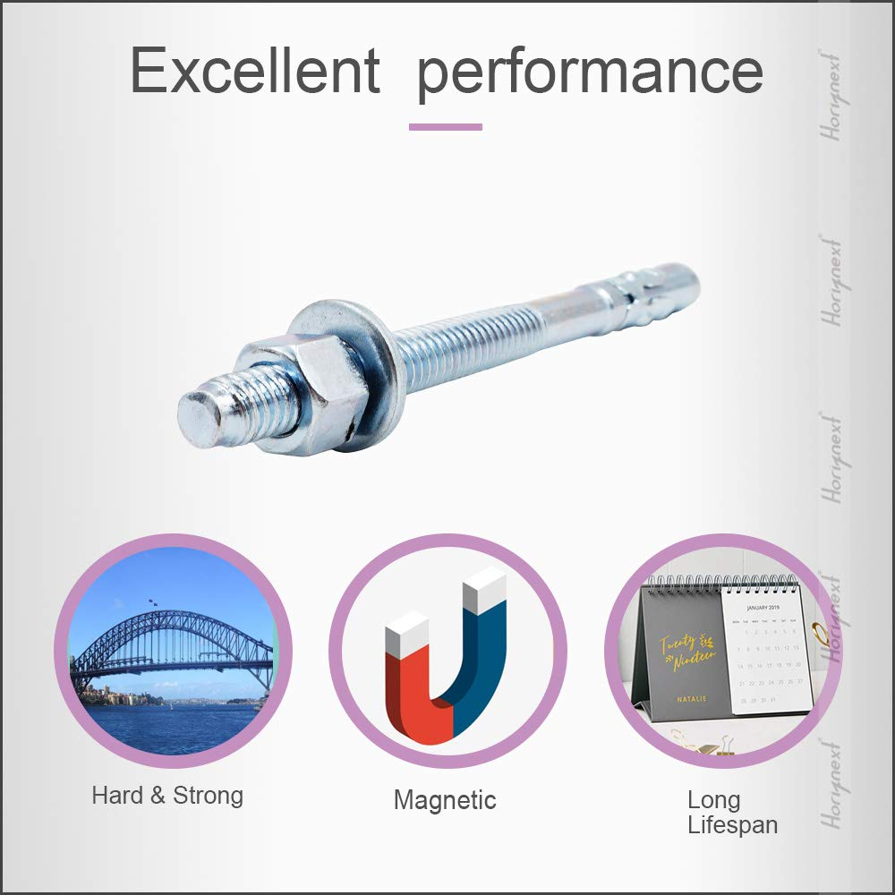 Horiznext 3//8 x 3 Wedge Anchor, for Cement and Concrete only, Galvanized Carbon Steel Screws and lag Bolts ( 30 pcs