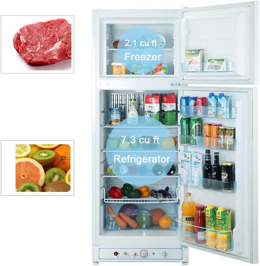 No Noise SMETA Propane Refrigerator with Freezer 12V//110V//Gas LPG 3.5 cu ft White Single Door Fridge for Dorm Office Garage