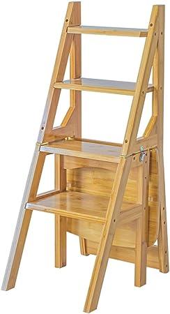 Taburetes escalera Silla de escalera plegable multifuncional para el hogar silla de bebé para escalera de cuatro peldaños para silla plegable de cuatro niveles de madera maciza escalera para uso resid: Amazon.es: