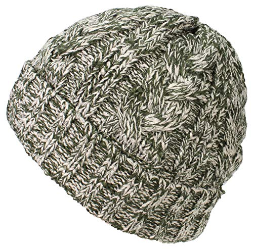 Best Winter Hats Womens Variegated Cable Knit Messy Bun/Ponytail Cuffed Beanie - Green/Khaki