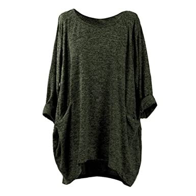 Womens Ladies Plain Oversized Baggy 3//4 Cuffed Sleeve Round Neck Tee T Shirt Top