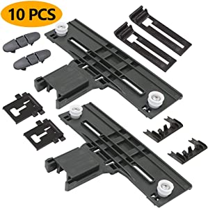 Appliancemate Dishwasher Positioner W10350376 Dishwasher Top Rack(UPGRADE)&W10195840 & W10195839 & W10250160 & W10508950 Top Rack Parts Adjuster Kit Compatible With Kenmore Dishwasher.