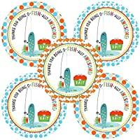 Gone Fishing Thank You Sticker Labels - Camping Birthday Baby Shower Party Supplies - Set of 30