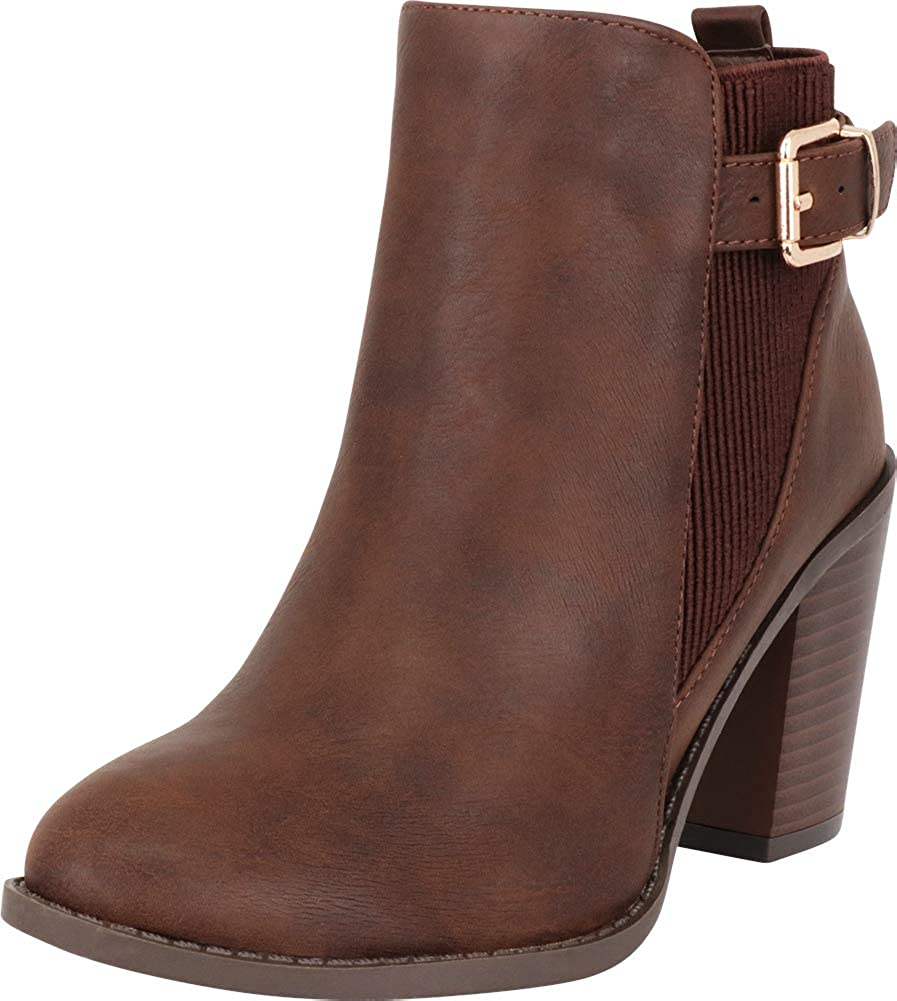 Brown Pu Cambridge Select Women's Western Side Stretch Buckle Stacked High Heel Ankle Bootie