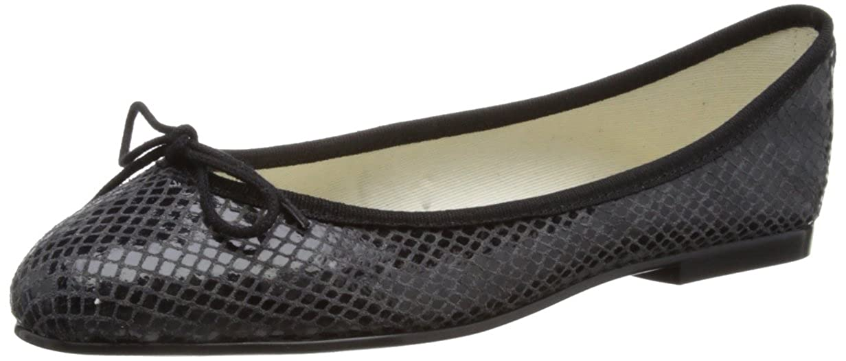 6441e81f9fa6 French Sole Womens India Black Snake effect LeatherBallet Flats PT276 4 UK
