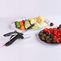 Manual Clever Cutter 2-in-1 Food Chopper Knife Cum Scissor Quickly Chops Your Favorite Fruits, Vegetables, Cheeses & More in Second, Replace Your Kitchen Knives and Cutting Boards.