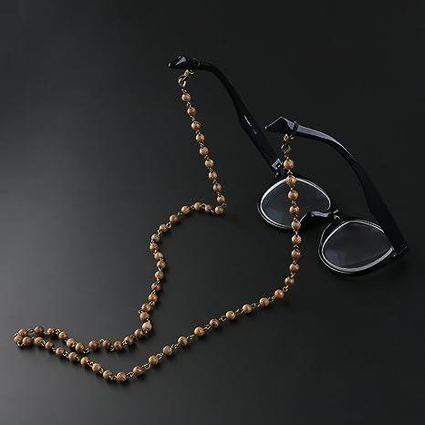 OULII Lunettes de vue bois chaîne lunettes de soleil perle chaîne cou titulaire cou cordon YH8FxGbchC