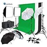 LimoStudio Continuous Lighting Photo & Video Studio Kit with Photo Background Muslin and Umbrella Reflector, Softbox, Backdrop Support Structure System with Cross Bar, Photo Studio Bundle, AGG2061
